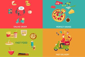 Illustration of online food shopping