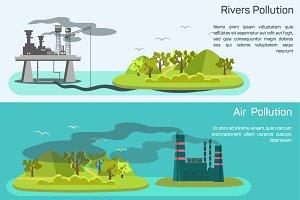 Banners air, rivers, ocean pollution