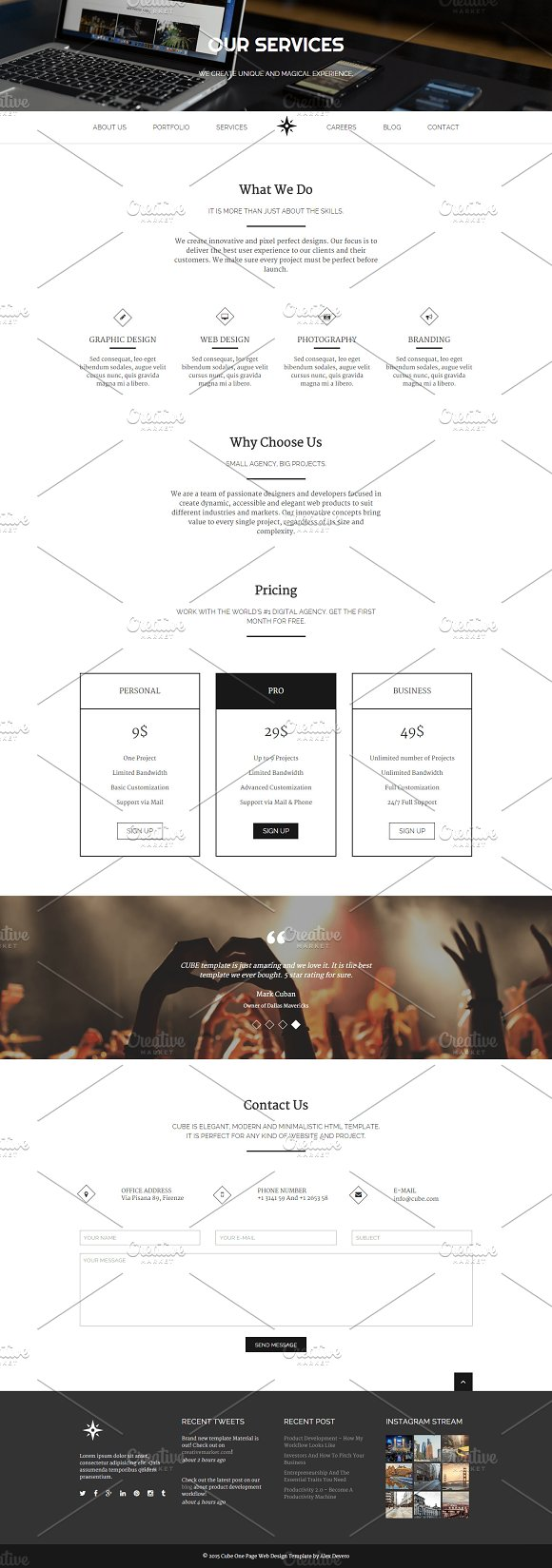 Cube Responsive Html Template Website Templates Creative Market Diagram