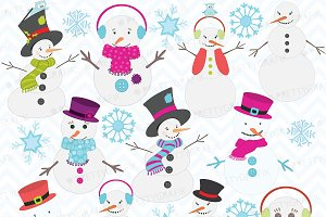 snowman clipart, commercial use