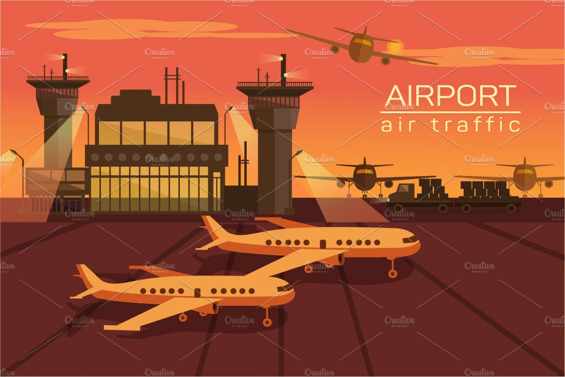 Vector illustration of airport ~ Illustrations ~ Creative ...