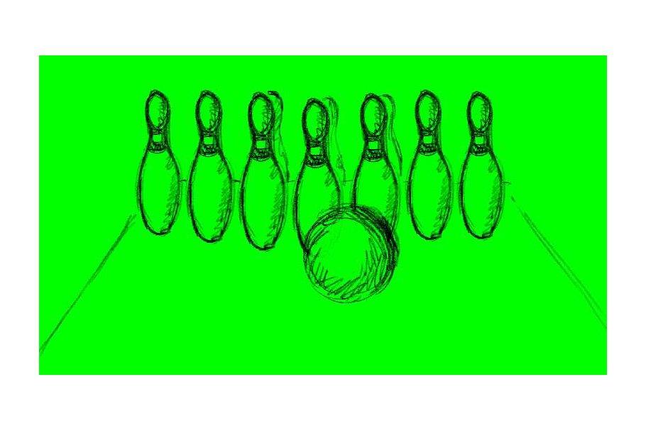 Animation Ten Pin Bowling Strike