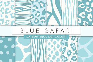 Blue Animal Prints Digital Papers