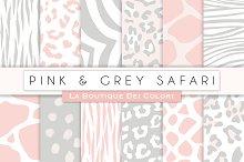 Pink & Grey Animal Prints Papers