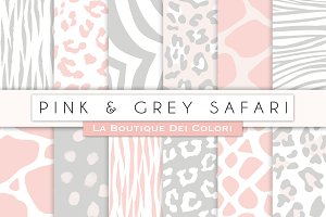 Pink & Grey Animal Prints Papers
