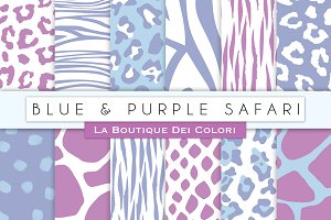 Blue & Purple Animal Prints Papers