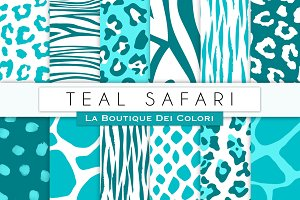 Teal Animal Prints Digital Papers