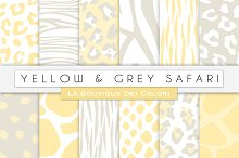 Yellow & Grey Animal Digital Papers