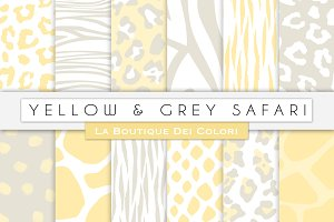Yellow & Grey Animal Digital Papers