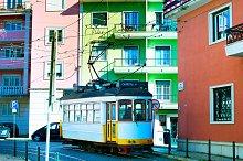 Retro style tram at Lisbon street
