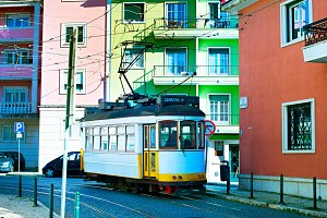 Retro style tram at Lisbon street