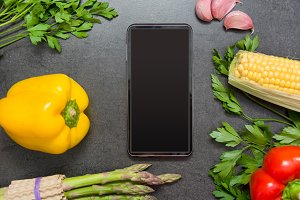 vegetables and mobile phone