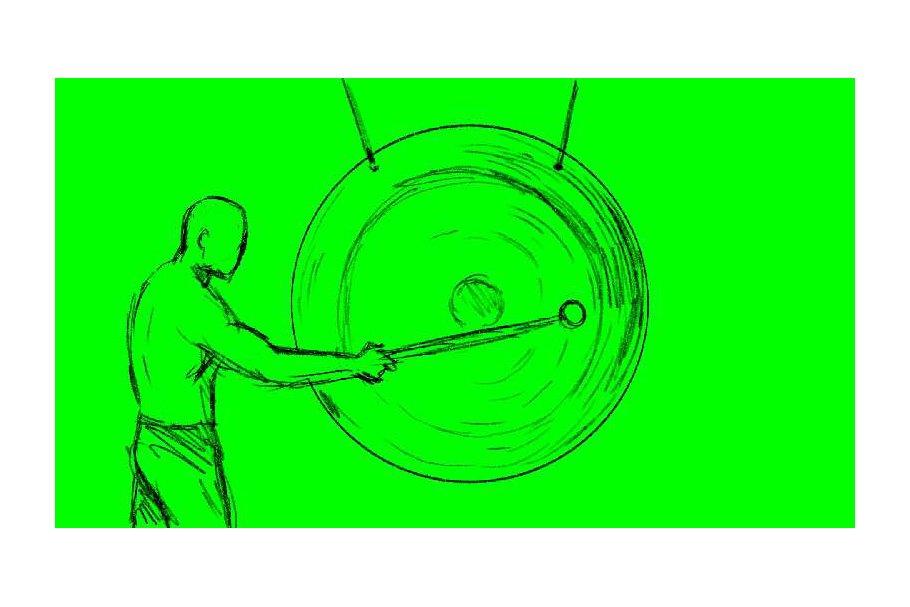Animation Man Hitting Gong Drawing