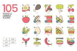 Food & Drinks Icons   Hazel Series
