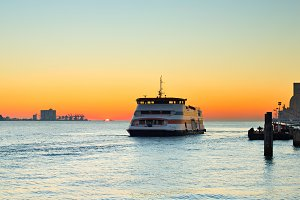 Ferry boat at sunset.Lisbon,Portugal