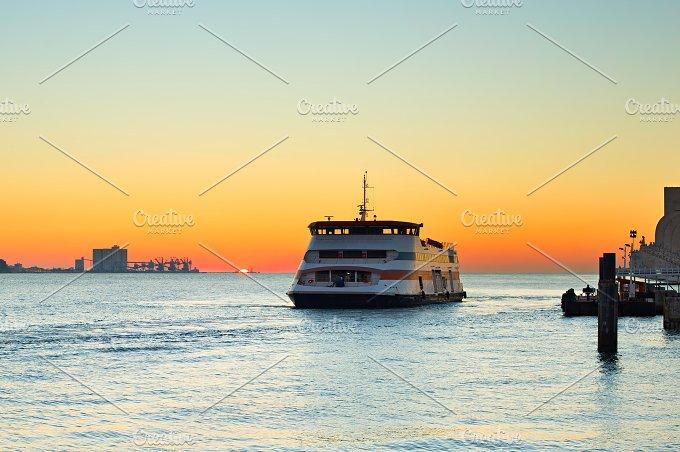 Ferry boat at sunset.Lisbon,Portugal - Transportation