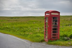 Red telephone booth in Scotland