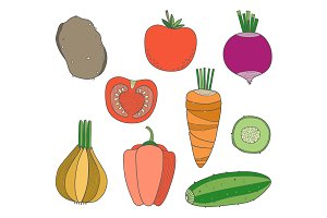 Hand Drawn Vegetables