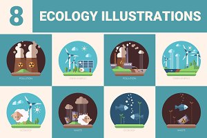 Set of Ecology Illustrations