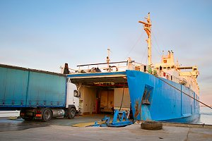 Loading ferry boat. Kerch, Crimea