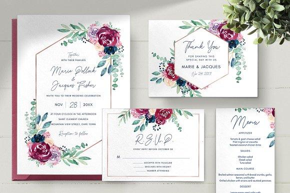 Wedding Invitation Design.Burgundy Wedding Invitation Set