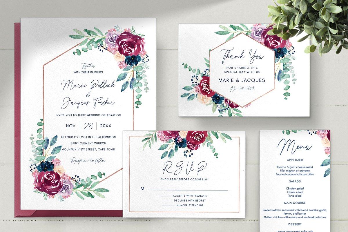 Burgundy Wedding Invitation Set | Creative Wedding Templates ...