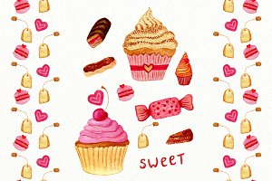 Watercolor sweets. Patterns. Vector