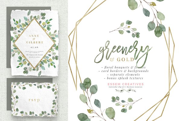 Greenery and Gold Watercolor Clipart