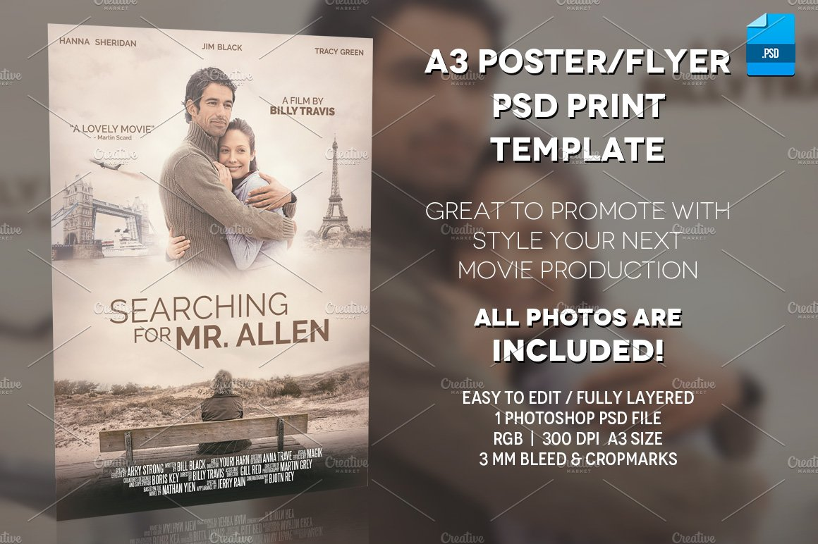 A3 - Movie Poster Print Template 1 ~ Flyer Templates ~ Creative Market