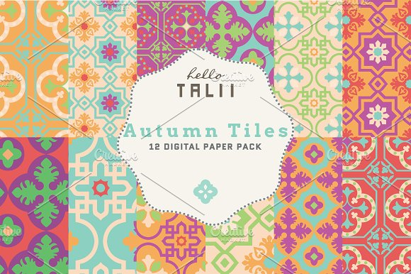 Autumn Tiles Digital Paper