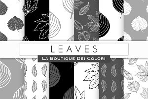 Black & White Leaves Digital Papers
