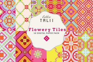 Flowery Tiles Digital Paper