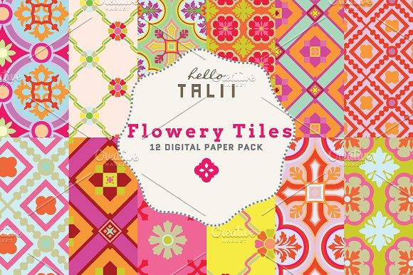 Flowery Tiles Digital Paper