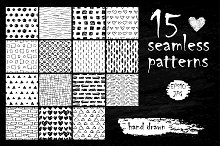 Hand drawn ink seamless patterns