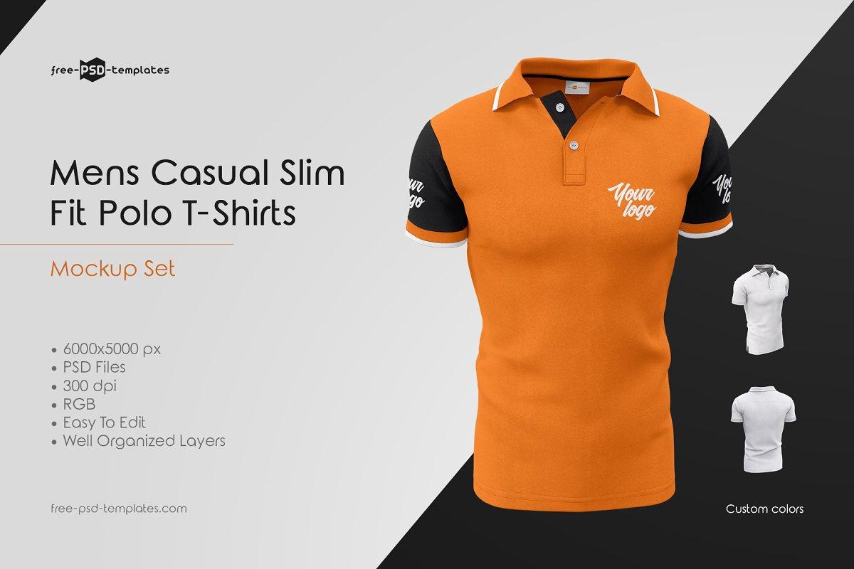 fca97abe1 Mens Casual Polo T-Shirts MockUp Set ~ Product Mockups ~ Creative Market