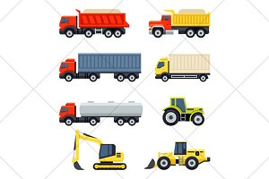trucks and tractors flat icons