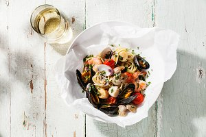 Seafood pasta and wine