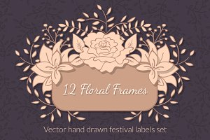 12 Floral Hand drawn Frames