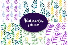 Watercolor floral vector patterns