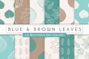 Blue & Brown Leaves Digital Paper