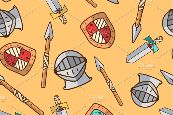 Seamless warrior pattern for kids