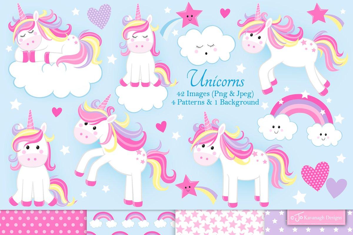 Unicorn clipart, cute unicorns -C24