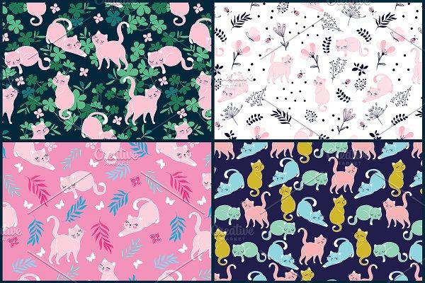 Cute Cat Patterns. Kitten Vector Art