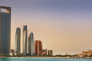 Abu Dhabi Skyline at sunrise, UAE