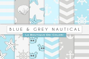 Blue & Grey Nautical Digital Paper