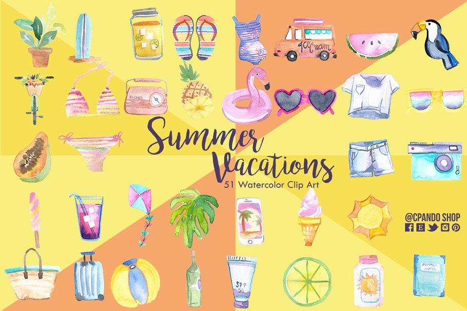 Summer vacations clip art