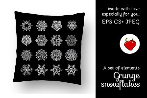 Set of grunge snowflakes