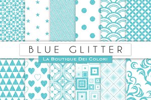 Blue Glitter Digital Paper
