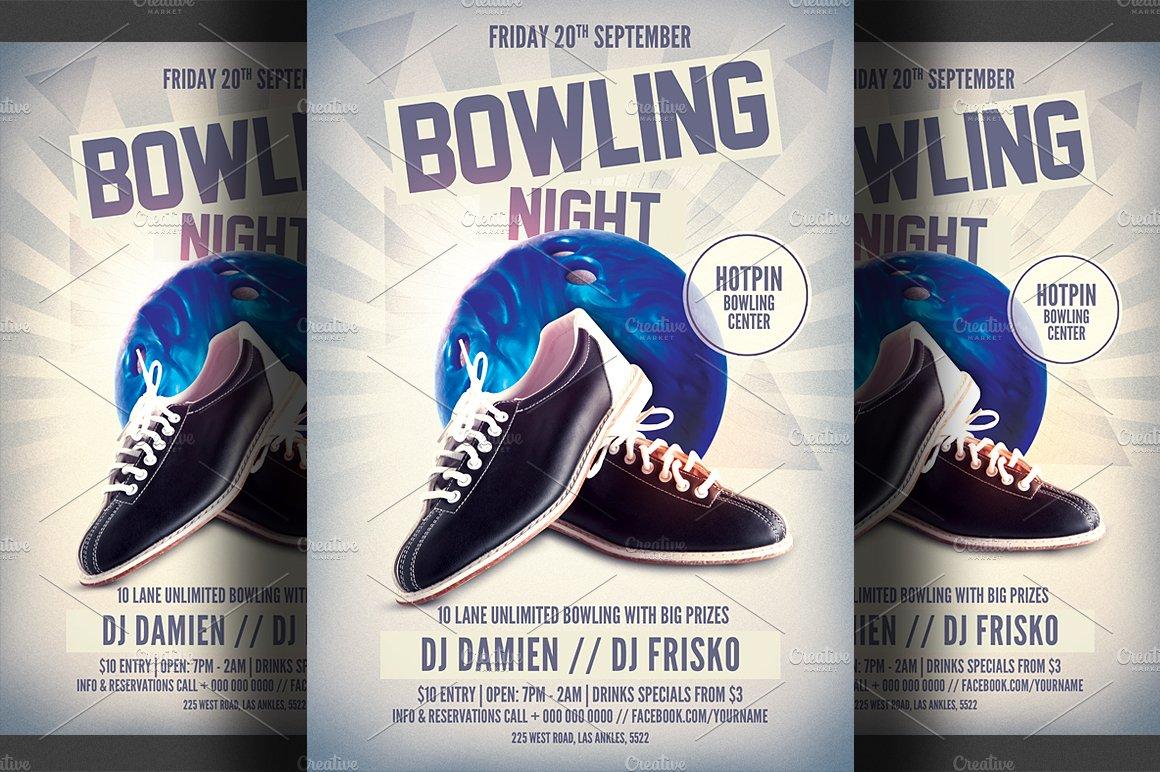 Bowling Night Flyer Template Flyer Templates Creative Market
