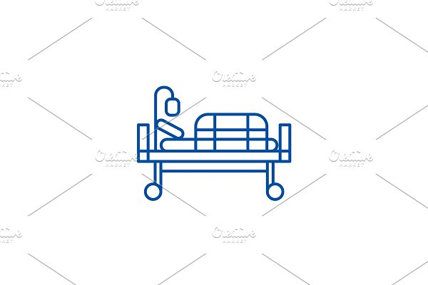 Bed in hospital line icon concept